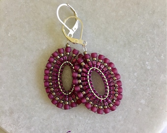 Beaded Statement Oval Brick stitched Lightweight Drop Dangle Purple/Magenta/Earrings- Gift for Her