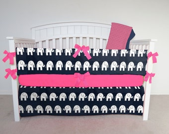 FREE SHIPPING - 4 Piece Crib Set - Elephant crib set, navy elephant, blue elephant crib bedding