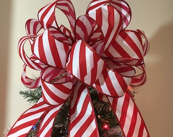 Large Candy Cane stripe red and White  Christmas Tree topper bow and 10 ornament bows