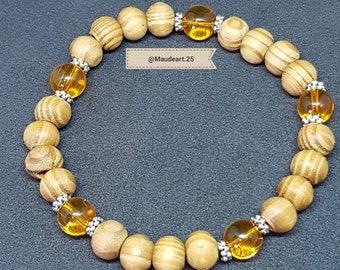 Wood and citrine beaded bracelet