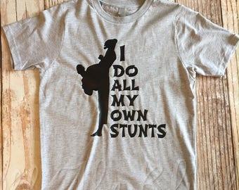 I Do All My Own Stunts Kids Karate Shirt