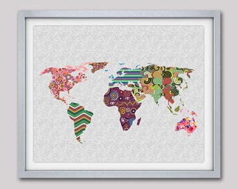 World Map Art, Map Art Decor, Map Print Poster, Geometric Art Print, Colorful Artwork, Giclee Art Print, Office Decor