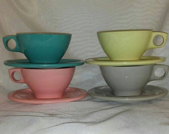 Boontonware Pastel Cups and Saucers Set of 4 Gently Used Vintage Condition