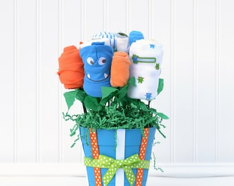 Monster Baby Shower Gift, Newborn Boy Gift Set, Unique Baby Boy Gift, Baby Clothes Bouquet, Hospital Baby Gift, Flowers for Newborn