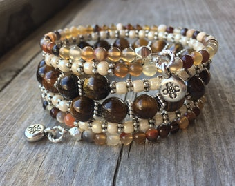 Coffee N' Cream Multi Gemstone Memory Wire Bracelet With Decorative Charms