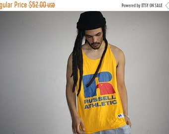 On SALE 60% Off - 1990s Russell Athletics Yellow Logo Muscle Tee Men's L Tank Top - VTG Beach Tanks - 90s Hip Hop Clothing - Mv0429