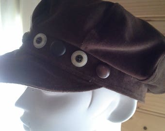 Brown Button Bakers Boy Cap