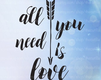 All You Need is Love SVG, Valentine SVG cut file, cuttable file for cameo or cricut, vector instant download