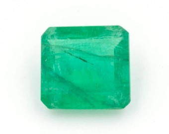 Square-cut natural emerald, weight: 1.95 ct.