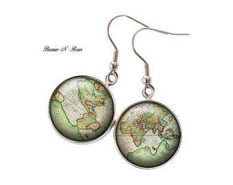 Earrings ° ° ° ° vintage retro green planet Earth nature globe Planisphere