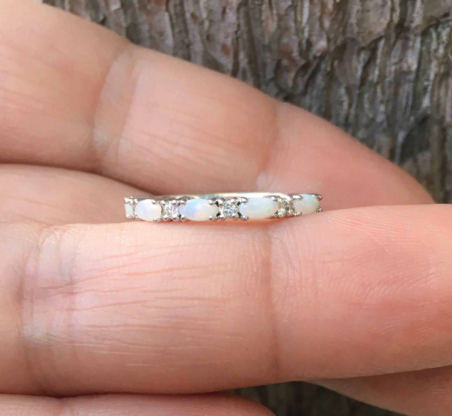 Opal Ring Simple Diamond Opal Wedding Band Matching Opal Ring ...