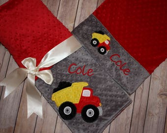 Dump Truck Nap Set - Personalized Minky Blanket and Pillowcase with embroidered Dump Truck - Travel or Standard Size