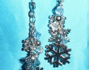 Set of Two ~ Snowflake Winter Blue White Bead Snow Intricate Metal ~ Ceiling Fan Pulls