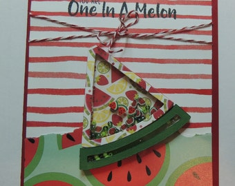 Watermelon Card, Shaker Card, Any Occasion Card, Fruit Card.