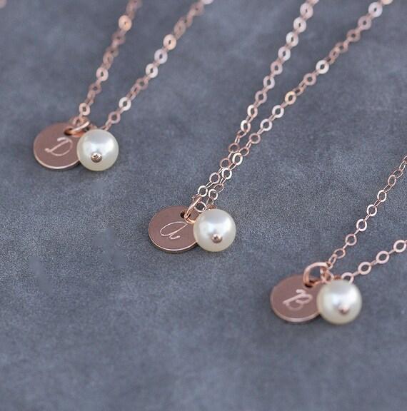 Bridesmaid Rose Gold Bracelet Pearl Initial Personalized