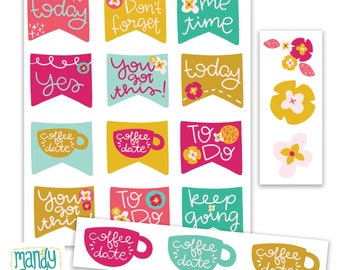 Printable Planner Stickers    Floral Stickers, Coffee Stickers, Washi Tape, Flag Stickers, Inspirational Stickers, Planner Accessories