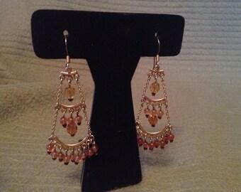 Vintage Goldtone and Brown Beaded Earrings