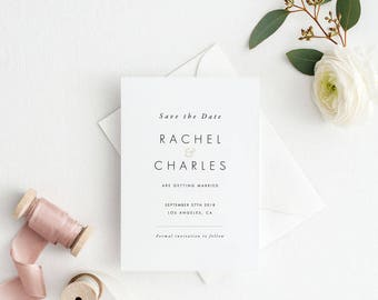 Printable Save The Date Printable - Modern Minimalist Wedding Invitation Printable- Ready to Print PDF - Letter or A4 Size (Item code: P412)