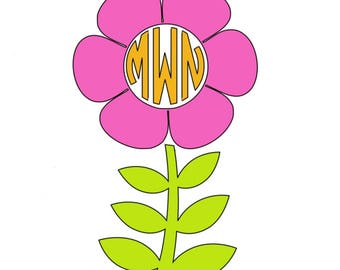 Flower Vinyl Decal with Initials *Free Shipping