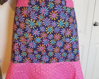 "Girls, ""Splash of color"", half apron with ruffle"