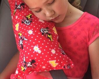 Minnie Seat Belt Pillow, Felt, Girls Booster Seat Pillow, Travel Pillow