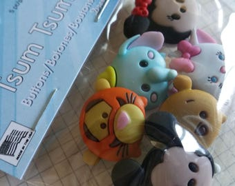 "Disney Buttons - Tsum Tsum Buttons - Tigger Dumbo Minnie Mickey Pooh - Sewing Bulk Button - 3/4"" Tall - 6 Shank Buttons"