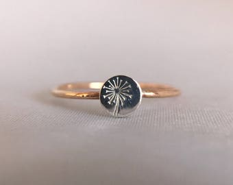 Dandelion Ring. Dandelion Seeds. Make A Wish Ring. Sterling Silver Disc on 14k Gold Filled Band. Dandelion Jewelry. Dainty. Nature Inspired