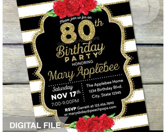 "80th Birthday Invitation Red Roses Watercolor Flowers Black and White Stripes Gold Glitter Party ANY AGE - DIGITAL Printable Invite 5"" x 7"""