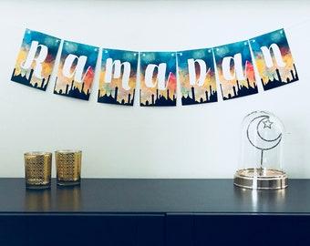 Sunset Silhouette Ramadan Banner