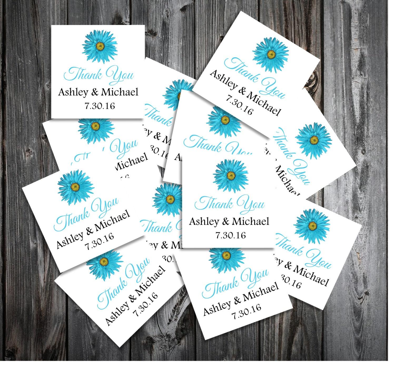 Malibu Blue Daisy 100 Wedding Favor Stickers. Personalized and ...