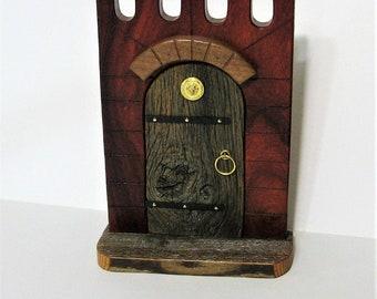 Fairy Door Magical Fairy Castle Made of Barn Wood And Red Padauk Wood