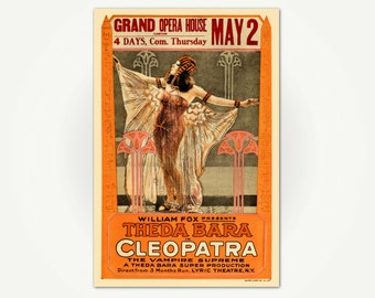 Cleopatra Movie Poster Print - Vintage Silent Movie Poster for Cleopatra - Theda Bara 1917 - Cleopatra Print