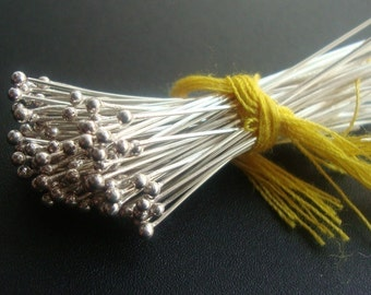 10 pcs, 28ga gauge, 50mm, 2 inch, Bali Sterling Silver Ball End Headpins
