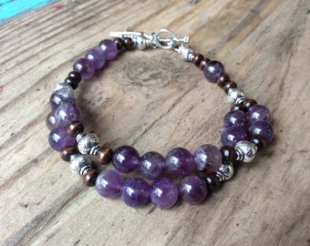 Natural Quartz Gemstone Purple Violet, Wood, Vintage Style Silver Beaded Bracelet with Feather Charm