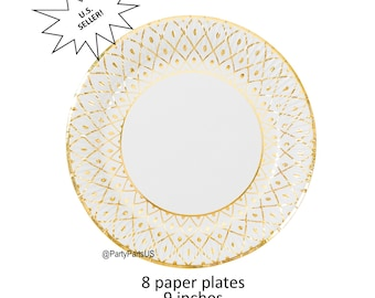 gold and white dinner plates elegant paper tableware formal party decorations disposable dishes  sc 1 st  Etsy & Formal party plates | Etsy
