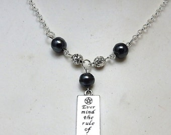 Wiccan rede necklace Ever Mind The Rule Of Three bar pendant hematite beads pentagram spacers - wiccan - pagan jewellery - High Priestess