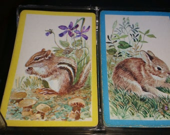 Vintage Double pack Whitman Cards in Case, Squirel Pack aND Rabbit Pack