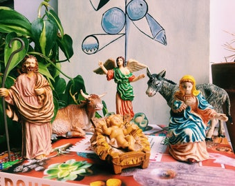 Vintage Fontanini Nativity Set, 6 Pieces, Made in Italy