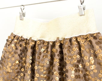 Girl Sequin Skirt, couture clothing, brown tulle skirt, special occasion, toddler skirt, children wedding,4T, 5, 6, 7, 8, 10, 12 sizes