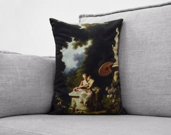 "the confession of love - 14"" x 20"" velveteen pillow - jean-honoré fragonard, 1771"