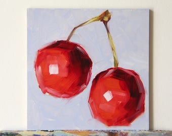Cherries original oil painting, still life painting, Christmas gifts, birthday gifts