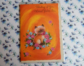 Vintage 1950s or 1960s Unused 'Get Well Soon' Card