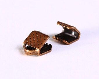 6mm x 8mm Ribbon ends antique copper (1050)