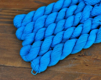 Turquoise, Mini Skein, Hand Dyed Yarn, SW Sock