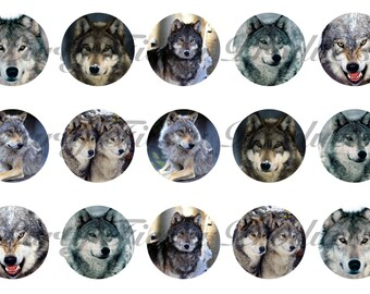 DOWNLOAD INSTANTLY - Wolf Wolves Snow Bottle Cap Images