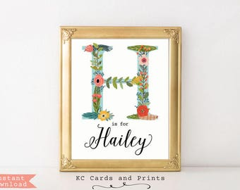 Floral Letter Art, Hailey Name Art, Nursery Decor, Kids Room Decor, Nursery Art, Wall Art, Digital Print, Instant Download