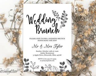 Wedding Brunch Invitation, Post Wedding Brunch, Printable Invitation, Brunch Invitation, Kraft Invitation, Rustic Invitation 006