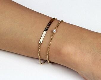 Layered bracelet, Stackable Birthstone Bracelet, Dainty Gemstone Bracelet, Gold Layering Bracelet, Bridesmaid gift Gift for her