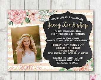 Printable Graduation Invitations, Floral Graduation Invites, College Graduation Invitations, High School Graduation Invites, Vintage, Rustic