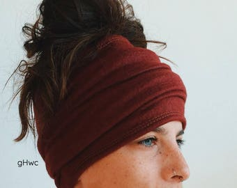 Burgundy Fleece Headband | Dreadband, Hair Tube, Dread Sock, Loc Wrap, Wide Band | Long, Dreadlock, Updo, Hair Wrap | Eco Friendly Headband